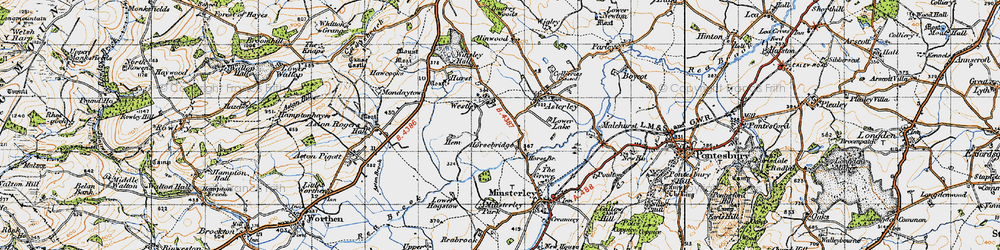 Old map of Westley in 1947