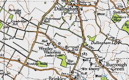 Old map of Westley Waterless in 1946