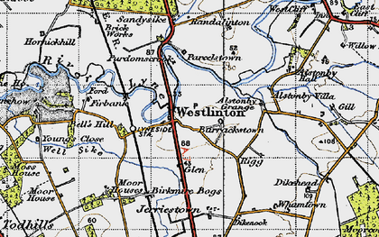 Old map of Westlinton in 1947