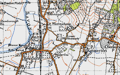 Old map of Westmancote in 1946