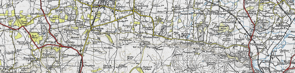 Old map of Westmeston in 1940
