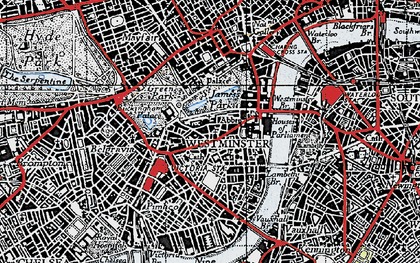 Old map of Westminster in 1945