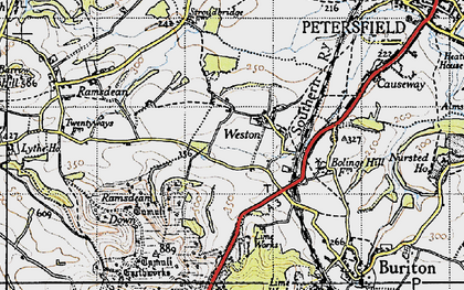 Old map of Weston in 1945