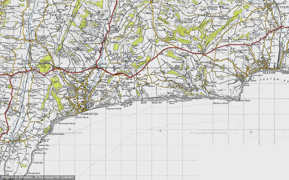 Old Map of Historic Map covering Weston Mouth in 1946