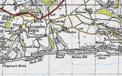 Old map of Weston Ebb in 1946