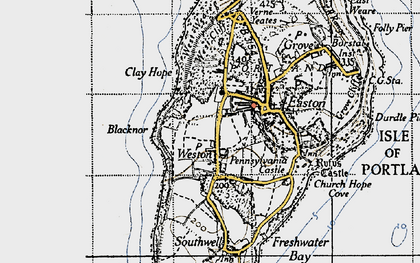 Old map of Weston in 1946