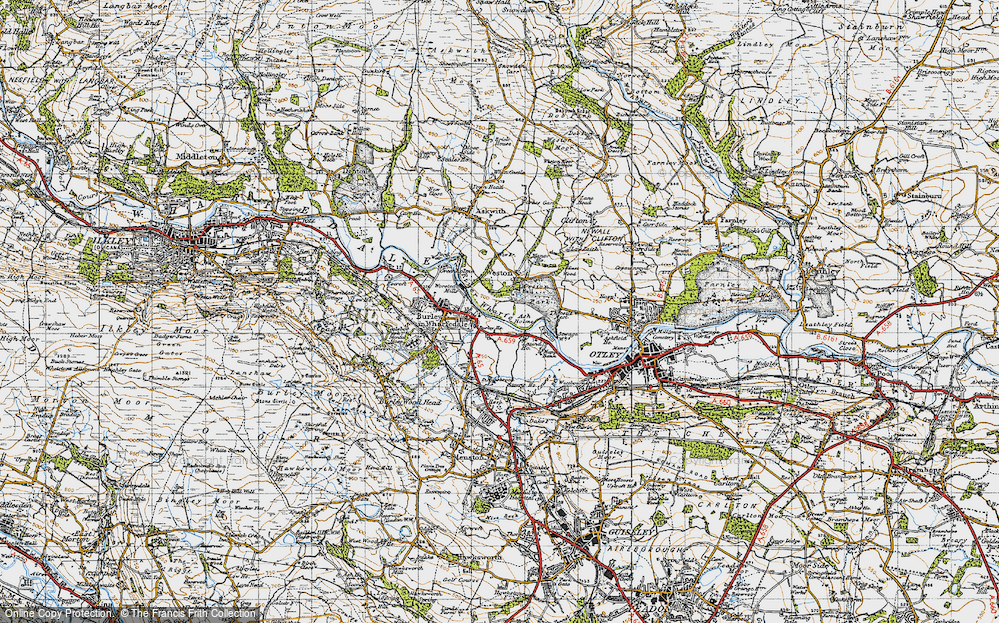 Old Map of Historic Map covering Ash Holme in 1947