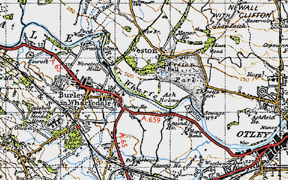 Old map of Ash Holme in 1947