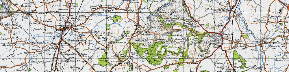 Old map of Weston Heath Coppice in 1947