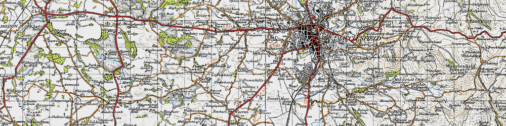 Old map of Weston in 1947