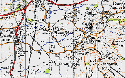 Old map of Weston Bampfylde in 1945