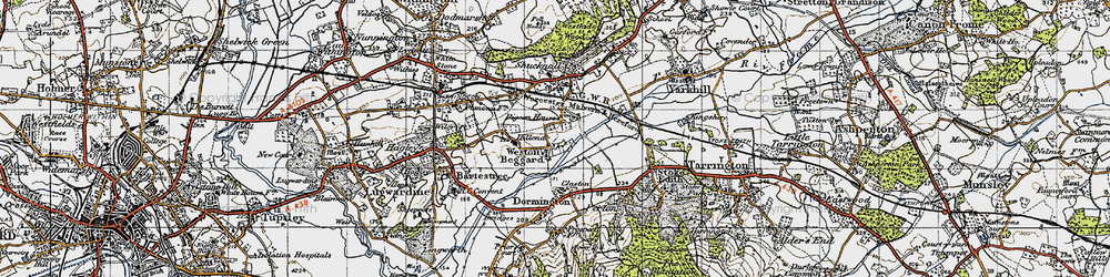 Old map of Weston Beggard in 1947