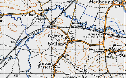 Old map of Weston by Welland in 1946