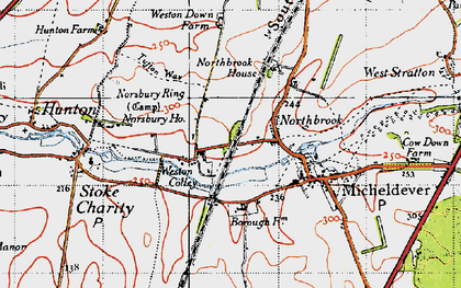 Old map of Weston Colley in 1945