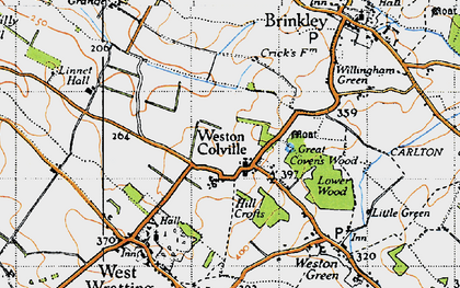 Old map of Weston Colville in 1946