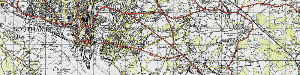 Old map of Weston Common in 1945