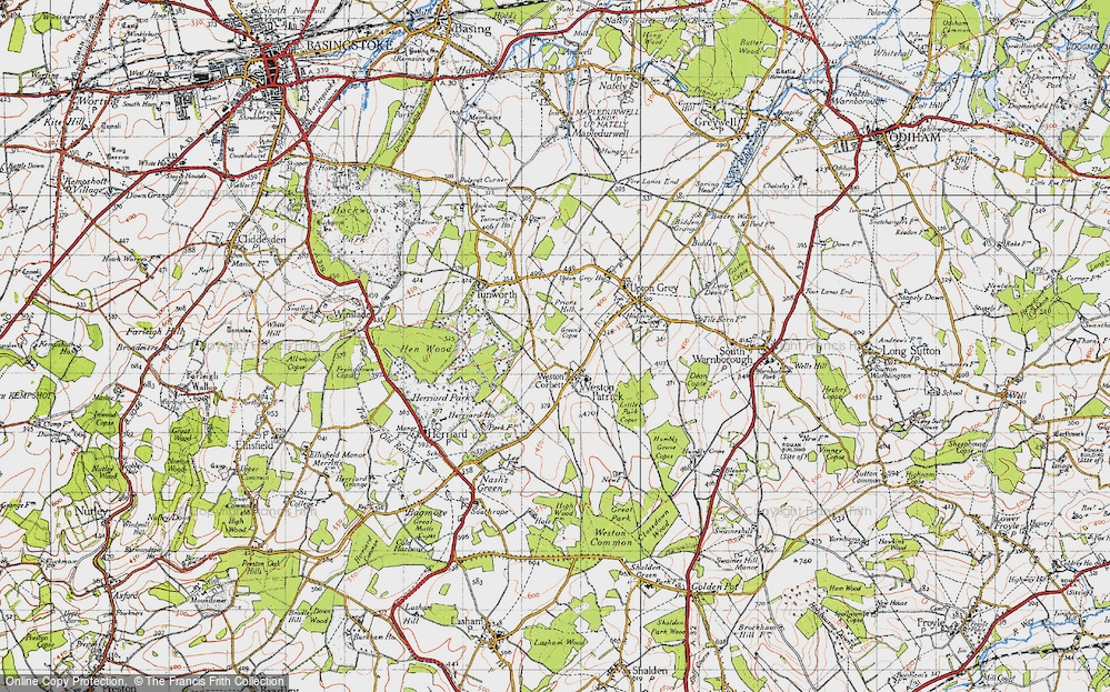 Old Map of Weston Corbett, 1945 in 1945