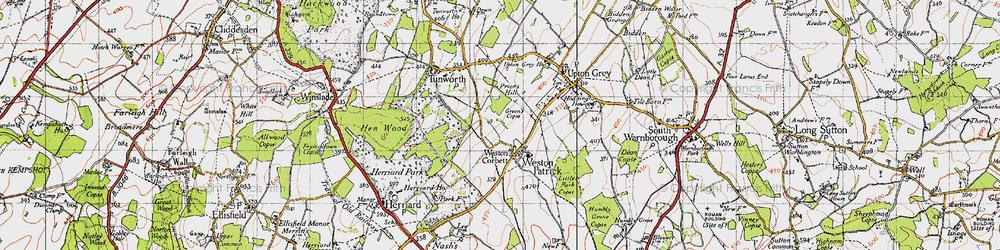Old map of Weston Corbett in 1945
