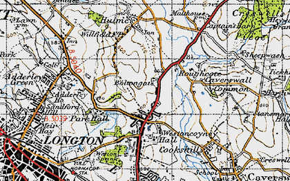 Old map of Weston Coyney in 1946