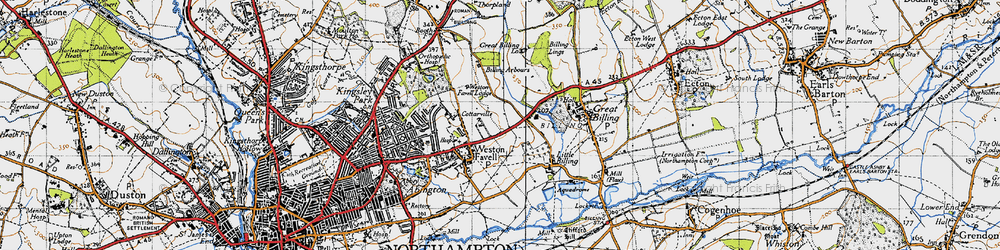 Old map of Weston Favell in 1946