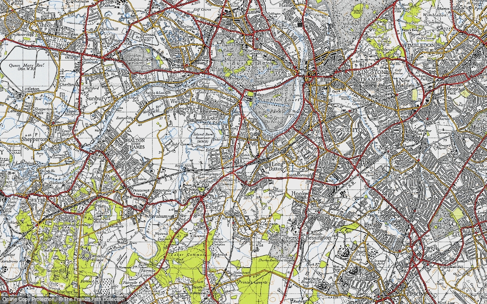 Old Map of Weston Green, 1945 in 1945