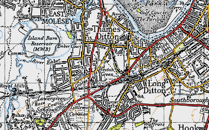 Old map of Weston Green in 1945