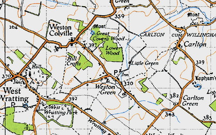 Old map of Weston Green in 1946