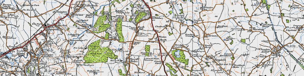 Old map of Weston Heath in 1946