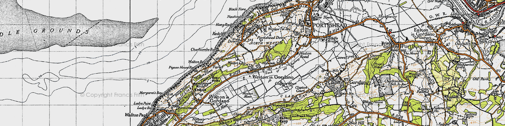 Old map of Weston in Gordano in 1946