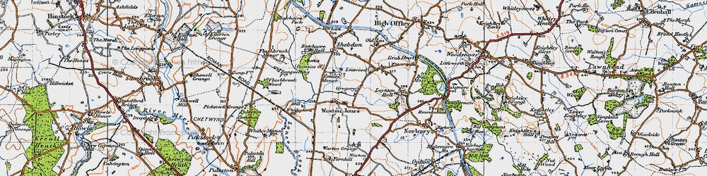 Old map of Weston Jones in 1946