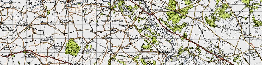 Old map of Weston Longville in 1945