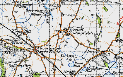 Old map of Weston Lullingfields in 1947
