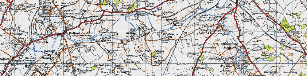 Old map of Weston-on-Avon in 1946