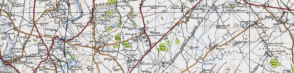 Old map of Weston-on-the-Green in 1946