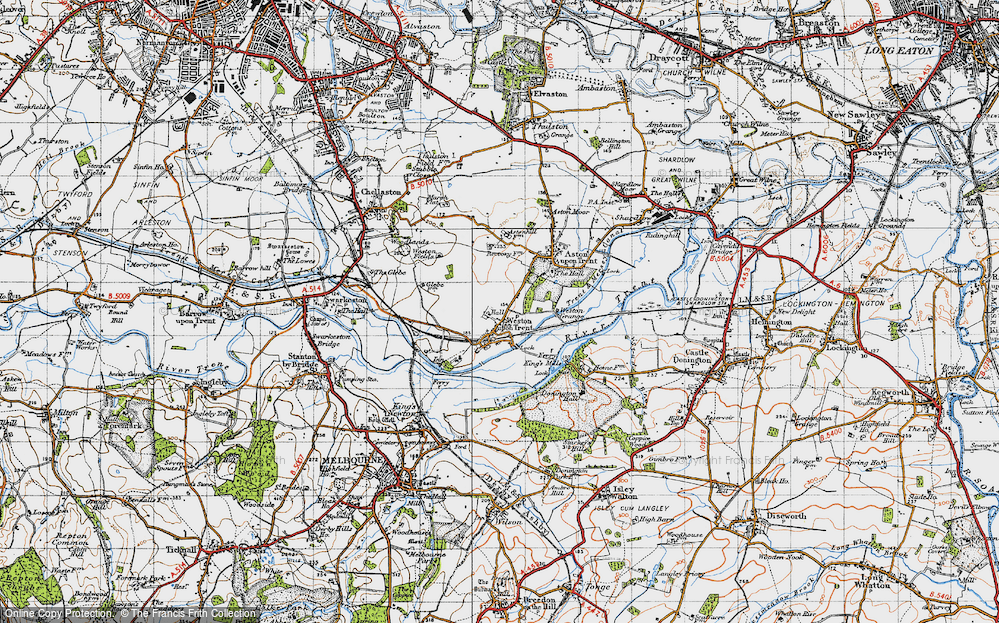 Old Map of Weston-on-Trent, 1946 in 1946