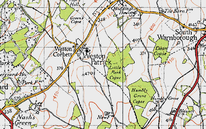 Old map of Weston Patrick in 1940