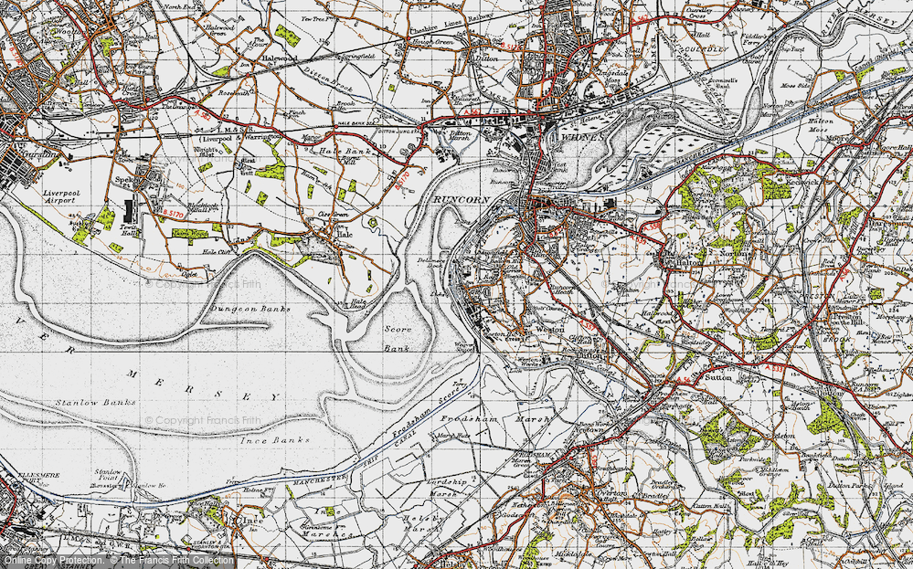 Old Map of Weston Point, 1947 in 1947