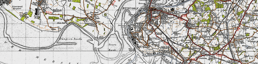 Old map of Weston Point in 1947
