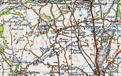 Old map of Weston Rhyn in 1947