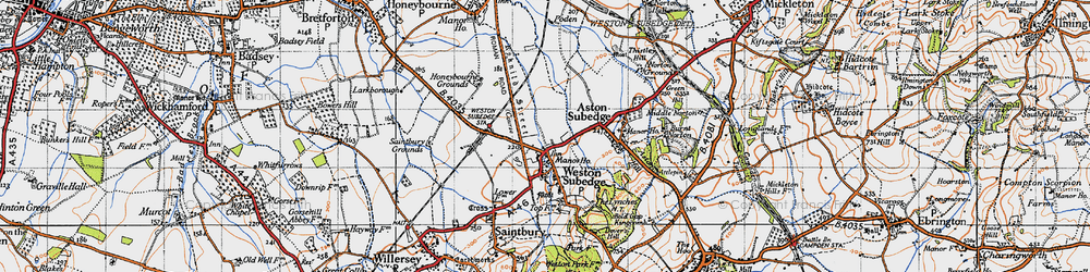 Old map of Weston-sub-Edge in 1946