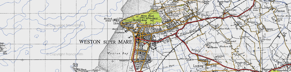 Old map of Weston-super-Mare in 1946