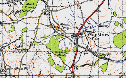 Old map of Weston Town in 1946
