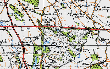 Old map of Weston Under Lizard in 1946