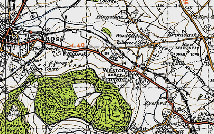 Old map of Weston under Penyard in 1947