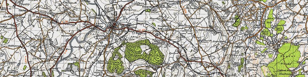 Old map of Weston under Penyard in 1947