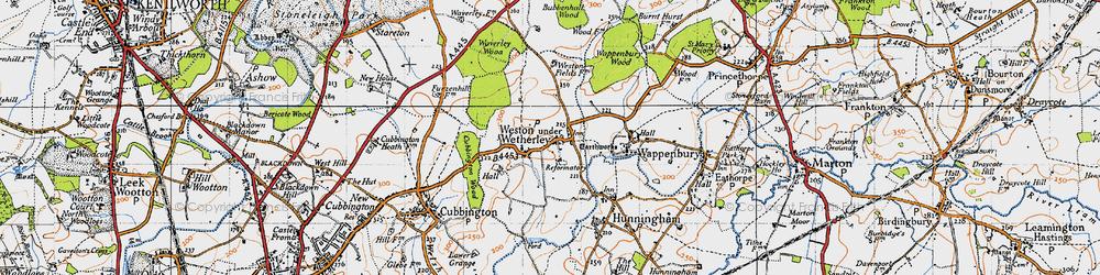 Old map of Weston under Wetherley in 1946