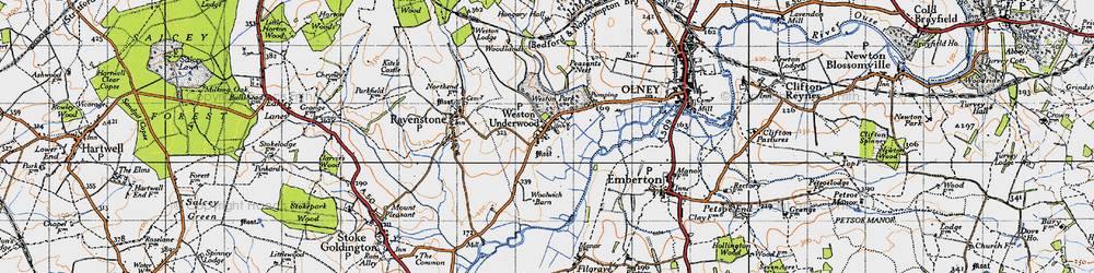 Old map of Weston Underwood in 1946