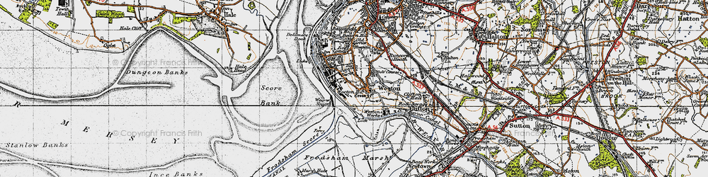Old map of Weston Village in 1947