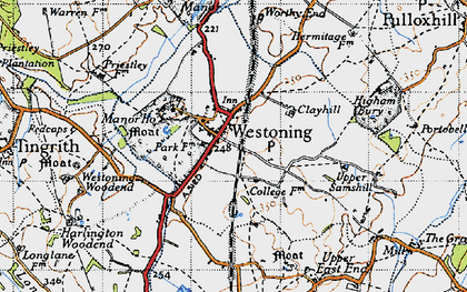 Old map of Westoning in 1946
