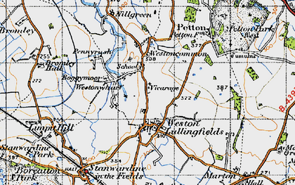 Old map of Weston Ho in 1947
